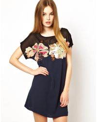 French Connection - Blue Aloha Spring Shift Dress With Embellishment - Lyst