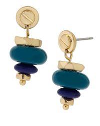 Kenneth Cole - Blue Goldtone Mixed Bead Drop Earrings - Lyst