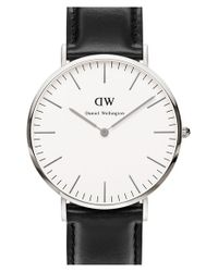 Daniel Wellington | Metallic 'classic Sheffield' Leather Strap Watch | Lyst
