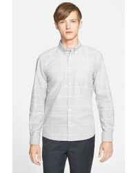 Saturdays NYC | Gray 'crosby' Trim Fit Plaid Oxford Shirt for Men | Lyst
