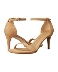 Stuart Weitzman | Orange Nunaked Lizard-Embossed Suede Sandals | Lyst