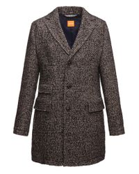 BOSS Orange - Brown Short Coat 'barrets' In Salt-and-pepper Look for Men - Lyst