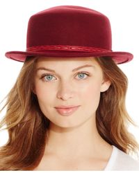 BCBGeneration - Red Stitched Boater Hat - Lyst