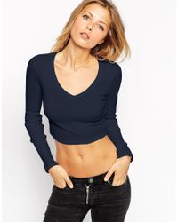 ASOS - Blue The V Neck Crop Top With Long Sleeves - Lyst