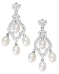 Macy's | Metallic Cultured Freshwater Pearl (6mm) And Diamond(1/10 Ct. T.w.) Earrings In Sterling Silver | Lyst