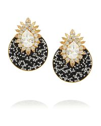 Shourouk | Black Luna Goldplated Swarovski Crystal Clip Earrings | Lyst