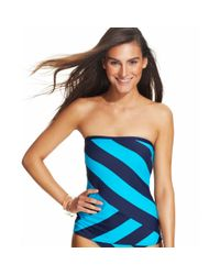 DKNY | Blue Striped Bandeau Tankini Top | Lyst