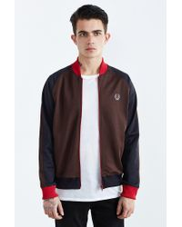 c9c0b5f84 Fred Perry Bomber Track Jacket in Brown for Men - Lyst