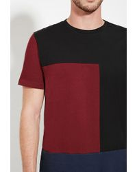 Forever 21 | Red Colorblocked Cotton Tee for Men | Lyst