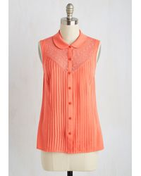 ModCloth - Orange Winsome In The Willows Top In Coral - Lyst