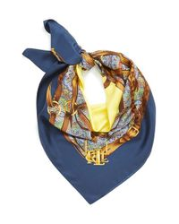Lauren by Ralph Lauren | Blue Silk Square Scarf | Lyst