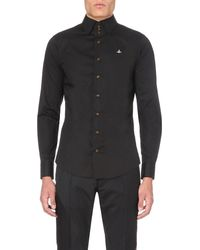 Vivienne Westwood | Black Three Button-collar Stretch-cotton Shirt for Men | Lyst