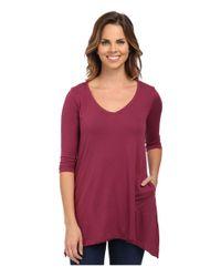 Allen Allen | Purple 3/4 Sleeve V-angled Tunic | Lyst