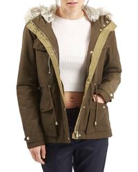 TOPSHOP - Green 'jaxson' Short Hooded Parka With Faux Fur Trim - Lyst