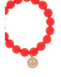 Sydney Evan - Orange Agate Happy Face Bracelet - Lyst