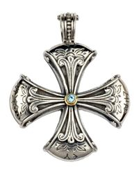 Konstantino | Metallic Sterling Silver & Blue Topaz Cross Enhancer | Lyst