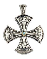 Konstantino - Metallic Sterling Silver & Blue Topaz Cross Enhancer - Lyst