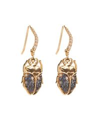 Aurelie Bidermann | Blue Beetle Diamond, Sapphire & Gold Earrings | Lyst