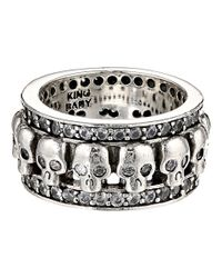 King Baby Studio | Metallic Wide Band Ring W/ Skulls And Cz | Lyst