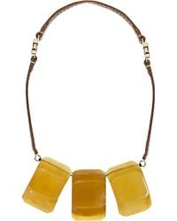 Marni - Yellow Resin And Leather Necklace - Lyst