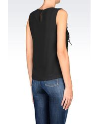 Armani Jeans - Black Chiffon Top With Fringing - Lyst