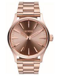 Nixon - Metallic 'sentry' Bracelet Watch - Lyst