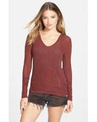 Volcom | Brown 'free To Go' Hooded V-neck Sweater | Lyst