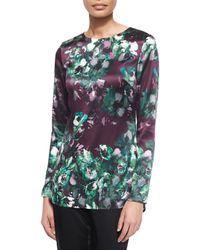 St. John - Multicolor Woodland Floral-print Stretch Silk Tunic - Lyst
