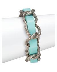 House of Harlow 1960 - Blue Engraved Link Leather Bracelet/silvertone - Lyst