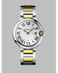 Cartier | Gray Ballon Bleu De 18K Yellow Gold & Stainless Steel Automatic Bracelet Watch | Lyst