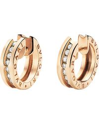 BVLGARI | Metallic B.zero1 18kt Pink-gold And Diamond Small Hoop Earrings | Lyst