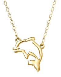 Lord & Taylor | Metallic 14 Kt. Yellow Gold Dolphin Silhouette Charm Necklace | Lyst