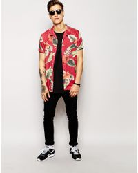 ASOS - Red Viscose Shirt In Short Sleeve With Hibiscus Floral Print for Men - Lyst