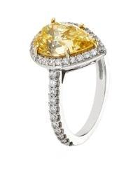Carat* - Yellow Border Set Pear Ring - Lyst