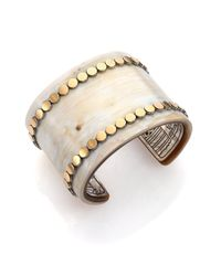 John Hardy | Metallic Dot Buffalo Horn, 18K Yellow Gold & Sterling Silver Wide Cuff Bracelet | Lyst