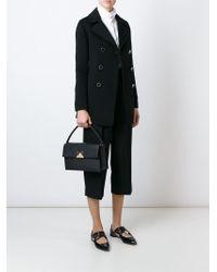 Emporio Armani   Black Plaque-Detail Leather Shoulder Bag   Lyst