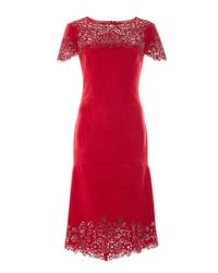 Marchesa | Red Ultra Suede Cap Sleeve Cocktail Dress | Lyst