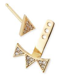 Sydney Evan | Metallic Single Earring With Diamond Triangle & 3-triangle Ear Jacket | Lyst