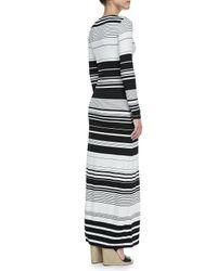BCBGMAXAZRIA - Black Calypso Striped Longsleeve Maxi Dress - Lyst