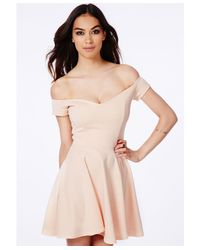Missguided | Natural Satyra Nude Bardot Skater Dress | Lyst