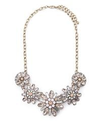 Forever 21 - Metallic Bejeweled Floral Necklace - Lyst