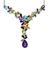 Lord & Taylor | Multicolor Multi-stone Necklace In Sterling Silver | Lyst