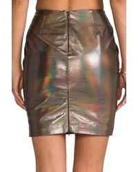 Muubaa   X Revolve Kowie Leather Skirt in Metallic Silver   Lyst