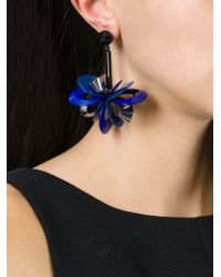 Erika Cavallini Semi Couture | Blue Flower Drop Earrings | Lyst