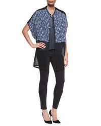 Elie Tahari - Black Rudy Sleeveless Blouse W/ Popover & Azella Moto Skinny Jeans - Lyst