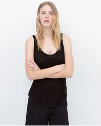 Zara | Black Vest Top | Lyst