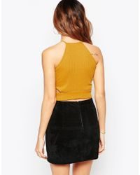 ASOS | Yellow Crop Top In Chunky Rib With Zip | Lyst