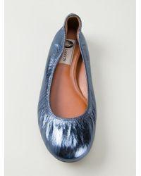 Lanvin - Blue Metallic Ballerinas - Lyst
