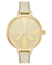 kate spade new york | Metallic 'metro - Strapped Up' Leather Strap Watch | Lyst