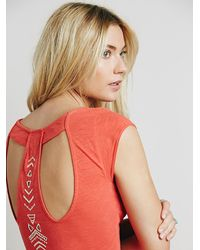 Free People - Orange Womens Meadows Embroidered Maxi - Lyst